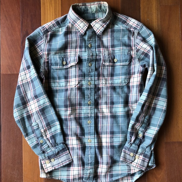 Eddie Bauer Shirts Mens Plaid Flannel Shirt Blue Tan Red Poshmark